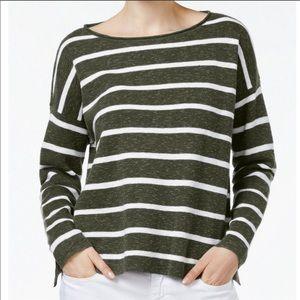 Eileen Fisher]Linen Cotton Slub Stripe Green/White